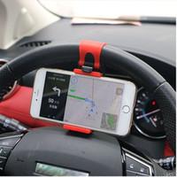 Wholesale car steering phone holder resale online - Universal Car Steering Wheel Clip Mount Holder for iPhone Plus s Samsung Xiaomi Huawei Mobile Phone GPS Retail