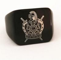 şövalye yüzükleri toptan satış-2018 Yeni Siyah Altın Gümüş Masonik Demolay Yüzük Geçmişi Master yüzükler columbus yüzük knights şövalyeleri tapınak takı