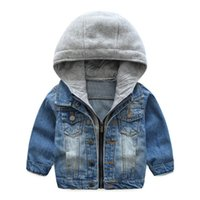 Wholesale top baby brand hat - Baby Boys Girls Jeans Denim Jackets Hoody Cardigan Cowboy Coat Kids Children Top Clothes with Hat