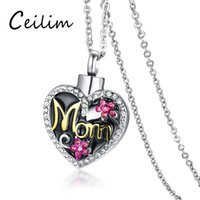Wholesale flower memorial - 2018 New Retro Cute Crystal Flower Mom Heart Necklace Stainless Steel Memorial Cremation Urn Necklace Pendant Bone Ash Jewelry For Women