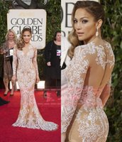 Wholesale Zuhair Murad Modest Gowns - Modest Zuhair Murad Celebrity Dresses Evening Wear Crew Neck Long Sleeves Lace Appliques Occasion Party Dress Mermaid Plus Size Prom Gowns