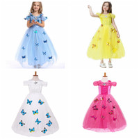 Wholesale Baby Blue Chiffon Dresses - snowflake diamond cinderella dress 2016 fancy costumes for kids blue gown Halloween baby girl butterfly dress 5 Layers in stock