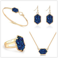 Fasgion 7 Colors Drusy Druzy Bracelet Earrings Necklace Silver Gold Plated Geometry Stone Earrings Necklaces For women