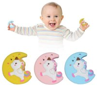 Wholesale accessories animal shape online - Cute Moon Unicorn Silicone Teether Baby Chewable Moon Shape Teething Toys Baby Training Soothers Nursing Accessories OOA5468