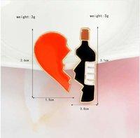 bolsas de botellas negras al por mayor-2 unids / set Broken heart botella de vino Broche de Metal Esmalte Rojo Negro Broches Pins Denim chaqueta Bolsa Pin Joyería de la insignia para niñas niños