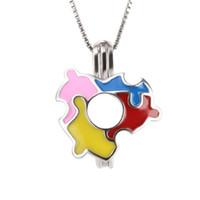 Wholesale puzzle pieces online - New Arrivals sterling silver Puzzle Pieces Cage pendants DIY charms mm