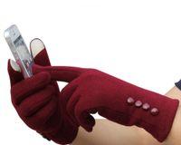 schöne handschuhe frauen großhandel-Mode Frauen Cashmere Warme Handschuhe Touchscreen Sport Ski Handschuhe Fäustlinge Neue Schöne Rot