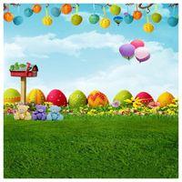ingrosso fondali in vinile per bambini-Top Offerte 3x5Ft Cute Fresh Grass vinile Photo background Studio Puntelli Fondali Easter Egg Air Balloon Cartoon Baby Kids photog
