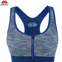 Wholesale racerback front closure bra - Vbiger Women Sports Bras Front Zipper Closure Sports Yoga Running Gym Fitness Bra Sports Brassiere Racerback with Removable Pads
