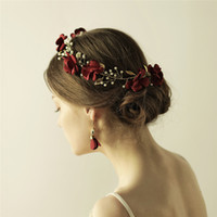 Wholesale red prom hair accessories for sale - Group buy Handmade Red Flower Women Prom Headband Tiara Gold Wedding Hair Accessories Bridal Hair Crown Pearls Hair Jewelry