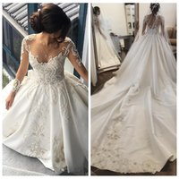 Wholesale luxurious cathedral wedding dresses resale online - Vestidos De Mariee Luxurious Sheer Long Sleeves Ball Gown Wedding Dresses Cathedral Train Lace Appliques Beaded Garden Bridal Gowns
