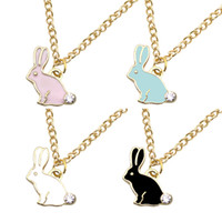 Wholesale necklaces bunny rabbit - Cute Bunny Rabbit Charm Pendant Necklace Rhinestone Enamel Animal Choker Necklaces For Women Fashion Jewelry Wholesale