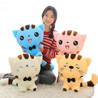 Wholesale stuffed animal faces resale online - 45cm Cute New style cat plush toys stuffed animals colorful big face cat doll kids pillow baby cushion pink blue LA070