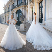 Wholesale church images - 2018 Newest Sheer Lace Wedding Dresses A Line Cap Sleeves Appliques Sequins Illusion Button Covered Back Church Bridal Gowns