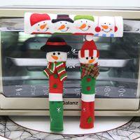 cubiertas de polvo del refrigerador al por mayor-Año Nuevo 3 Unids / set Decoración de Navidad Refrigerador Microondas Horno Puerta Perilla Cubiertas Muñeco de nieve de diseño de diseño Cubiertas de polvo
