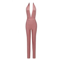 b877a711da Bandage Jumpsuit 2018 Summer Deep V Neck Fashion Celebrity Solid Rompers  Ladies New Fashion Full Length Skinny Backless Clothes