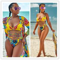 gelber badebekleidung großhandel-Gelb Blumendruck Cross Bandage Bandeau Bikini + Vertuschen 3PCS Set Badeanzug 2018 Sommer Frauen Schwimmen Badeanzug Beach Wear