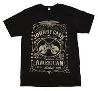 guitarras country al por mayor-Cool Summer Tees Johnny Cash Cross Guitars American Rebel Label Country Rock Hombres camiseta negra
