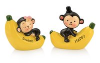 Wholesale Cute Banana Cartoon - Car Ornament 2pcs set Cute Artificial Resin Sweet Monkey on Banana Figurines Craft Cartoon Decoration Decor Lovely Toys Gifts
