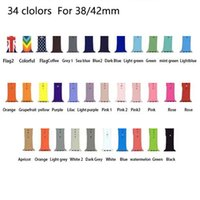 Wholesale white watch band replacement - 34 Colors Watch Band Rubber Strap For Watch Silicone Smart Watch Bracelet Replacement Band 38 42mm Sports Edition