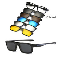 e86ac4ceb3dbd Hombres de la manera Mujeres Gafas de Sol con Cinco Gafas de Sol con Clip Lente  Polarizada TR90 Gafas Magnéticas Gafas de Espectáculo Marco