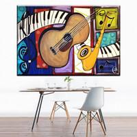 kunstmalerei gitarre großhandel-1 Panel moderne abstrakte leinwand kunst bunte musik instrument gitarre leinwand bilder ölkunst malerei für wohnzimmer schlafzimmer dekor Kein Rahmen