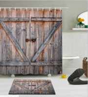 ingrosso vintage tende da doccia-Tenda da doccia e tappetino in legno in legno vintage retrò con tenda da bagno in legno impermeabile con 12 ganci