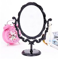 Wholesale black compact mirrors - Wholesale Fashion Beautiful Makeup Mirror Desktop Rotatable Small Size Rose Stand Compact Mirror Black Butterfly #57700