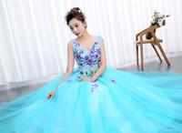 Wholesale host model - OPZC Color yarn Princess Blue New Wedding Dress 2018 Sexy V Neck for Party Chorus host Fleabane Bitter Stage Studio Photo