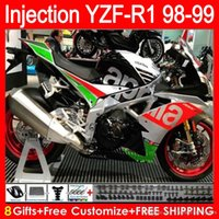 Wholesale Green R1 Fairings - Injection molding Body For YAMAHA YZF 1000 R 1 YZFR1 98 99 00 01 Red white 61HM0 YZF1000 YZF R1 YZF-R1000 YZF-R1 1998 1999 2000 2001 Fairing