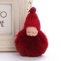 ingrosso bello bambino amanti-Lovely Sleeping baby Pompon pelliccia soffice Portachiavi Coniglio palla di pelliccia portachiavi portachiavi pompon porte chiave portachiavi