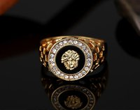 Wholesale Mens Diamond Rings Wholesale - brand new high quality CZ diamond superhero mens rings gold filled 2016 fashion figure ring black
