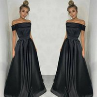 Wholesale Evening Dresses Straight Line - Black Stain Dresses Evening Wear Dubai Cheap Party Dresses Arabic Women Off The Shoulder Straight Prom Dress Middle East Formal Gowns