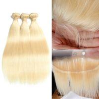hint remy insan saç sarışın toptan satış-Hint Remy İnsan Saç Sarışın Saç 3 Demetleri Ile 4 * 4 Dantel Kapatma 13x4 Frontal Saf 613 Renk Düz Saç Kapatma ile Kapatma Vücut Dalga