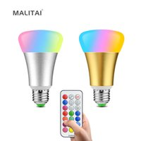 Wholesale Coloured Led Bulbs - RGB Colour Dimmer E27 10W Fairy LED Night light 110V 220V RGBW RGBWW Christmas Decoration lamp Bulb With Timer Remoter Control