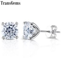14k 585 de oro blanco al por mayor-Transgems Sólido 14K 585 Oro blanco VVS F Color Moissanite Diamond Stud Earrings Para Mujeres Push Back Classic Ladies Earrings Gold