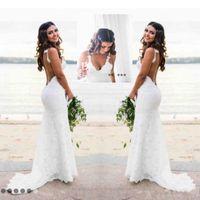 Wholesale New Style Bride Wedding Dress - 2018 New Sexy Backless Wedding Dresses Mermaid Spaghetti Straps V Neck Lace Beach Style Bride Dresses Fashion Custom Made abito da sposa 1