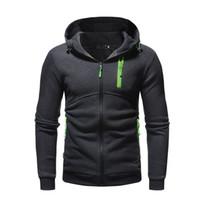 atletik hoodie toptan satış-Floresan Fermuarlar ile erkekler Rahat Atletik Hoodies Erkek Yüksek Sokak Hırka Sonbahar Kapüşonlu Tişörtü Mans Kış Düz Renk Tops