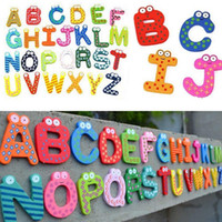 Wholesale wood magnets - Loverly Trustworthy New Kids Toys 26pcs Wooden Cartoon Alphabet A-Z Magnets Child Educational Wooden Toys M0075 P