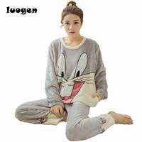 Wholesale Flannel Nightgowns Women - Winter Women Flannel Pajamas Set Sleep Jacket Pant Sleepwear Warm Nightgown Female Cute Cartoon Bugs Bunny Pants Sleepwear