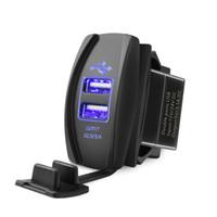 Wholesale 12v car port online - Universal Dual Port USB Charger Power Socket Blue LED Light v v for iPhone Samsung LG Android Phone