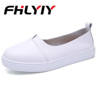 Wholesale white leather nursing shoes women for sale - Women Pu Leather Loafers Black White Slip on Nurse Shoes Street Party Fashion Flat Shoes Solid Zapatos De Mujer Flat Women