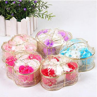 Wholesale Gift Baskets Flowers - Romantic Bath Soap Heart Shape Iron Basket Rose Soaps Flower Practical Easy To Carry Bouquet For Valentines Day Gift 4 5mwa B