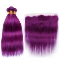 couleur pourpre trame de cheveux achat en gros de-Extensions de trame de cheveux raides soyeux brésiliens avec partie libre frontale Pure Purple 9A cheveux humains brésiliens 3Bundles avec 4 * 4 front de dentelle