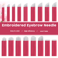 agujas al por mayor-7 9 11 12 14 16 18 Forma de U U Maquillaje permanente Ceja Tattoo Needles Blade Para 3D bordado Microblading Tattoo Pen accesorio