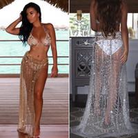 falda dividida bikinis al por mayor-2018 Summer Beach Cover Up Bikini Cover up Sarong Wrap Pareo Skirt Custome Beachwear Sundress Shinning Split Casual Dress