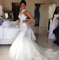 Wholesale sheer bodice backless fitted wedding dresses for sale - Group buy High Neck Mermaid Wedding Dresses Lace Appliqued Beaded Sequins Fitted Backless Tulle Fish Trail Sweep Train Bridal Gowns BO8263