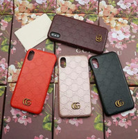 Wholesale texture phone - Luxury brand leather texture embossed phone case for iPhone X 8 8Plus 7 6 6S Plus hard back cover for Samsung S9 8S Plus S7 Edge Note 8