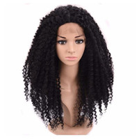 Wholesale afro curly hair wigs for sale - Group buy African American Wigs Fiber Afro Kinky Curly Wigs Synthetic Lace Front Long Curly Wigs For Black Women Lace Front Hair In Stock