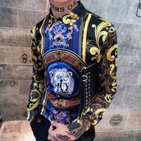 korece ince sığan erkek gömleği toptan satış-Aslan Baskı Gömlek Mens Altın Çiçek Bluz Erkek Barok Gömlek Kraliyet Slim Fit Lüks Kore Moda Giyim Kulübü